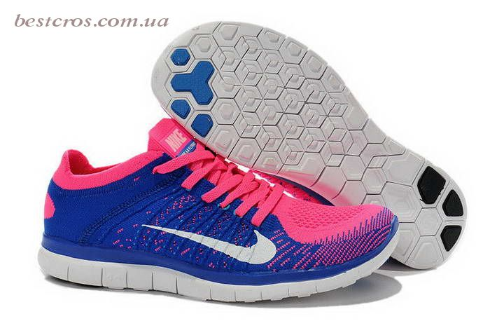 Женские кроссовки Nike Free Run Flyknit 4.0 Blue/White/Pink