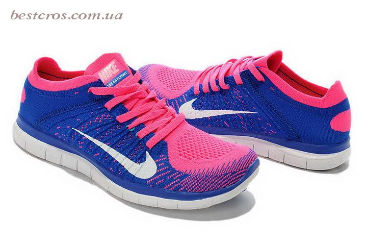 Женские кроссовки Nike Free Run Flyknit 4.0 Blue/White/Pink - фото №2