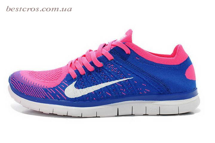 Женские кроссовки Nike Free Run Flyknit 4.0 Blue/White/Pink - фото №3