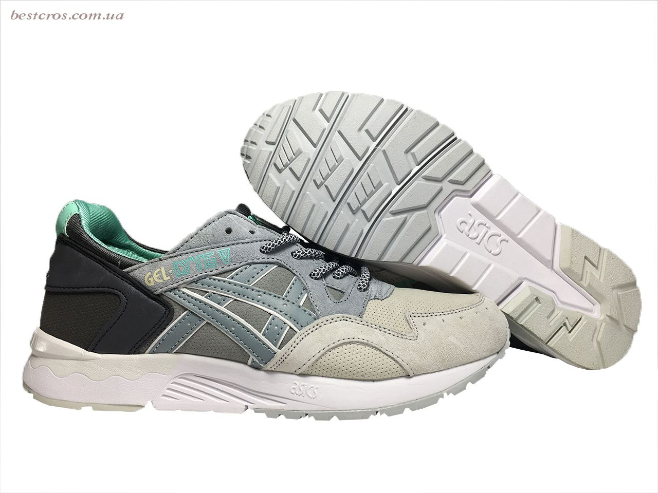 Мужские кроссовки Asics Gel Cream/Grey/Black/White/Light green - фото №3