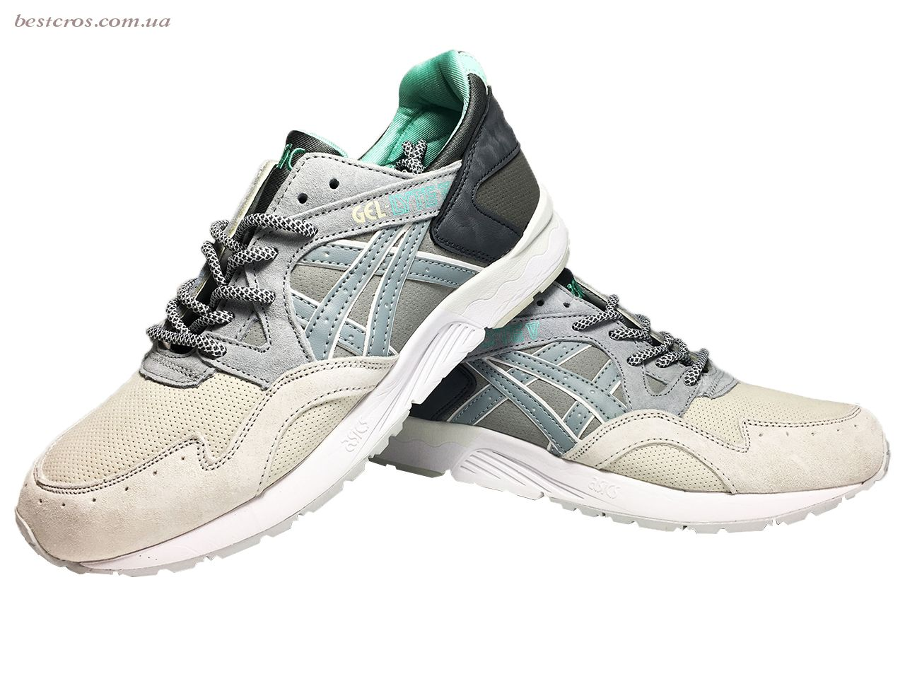 Мужские кроссовки Asics Gel Cream/Grey/Black/White/Light green - фото №4