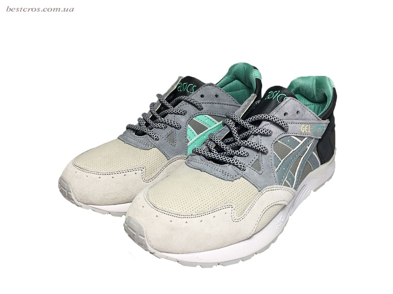 Мужские кроссовки Asics Gel Cream/Grey/Black/White/Light green - фото №5