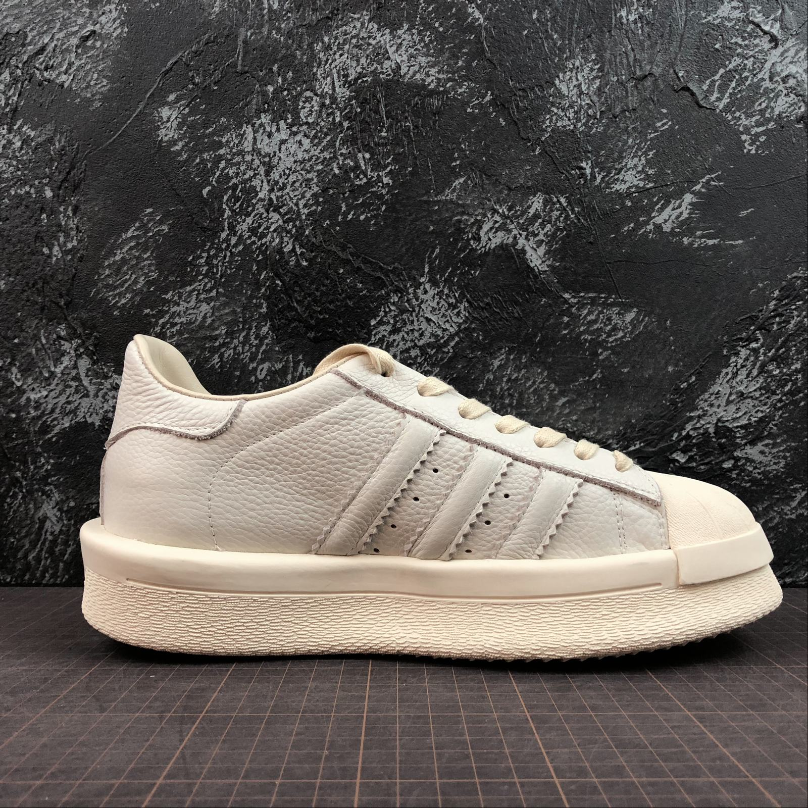 Мужские кроссовки Rick Owens x Adidas Mastodon Pro Model Ro Pearl low-top Men White,White with line - фото №2