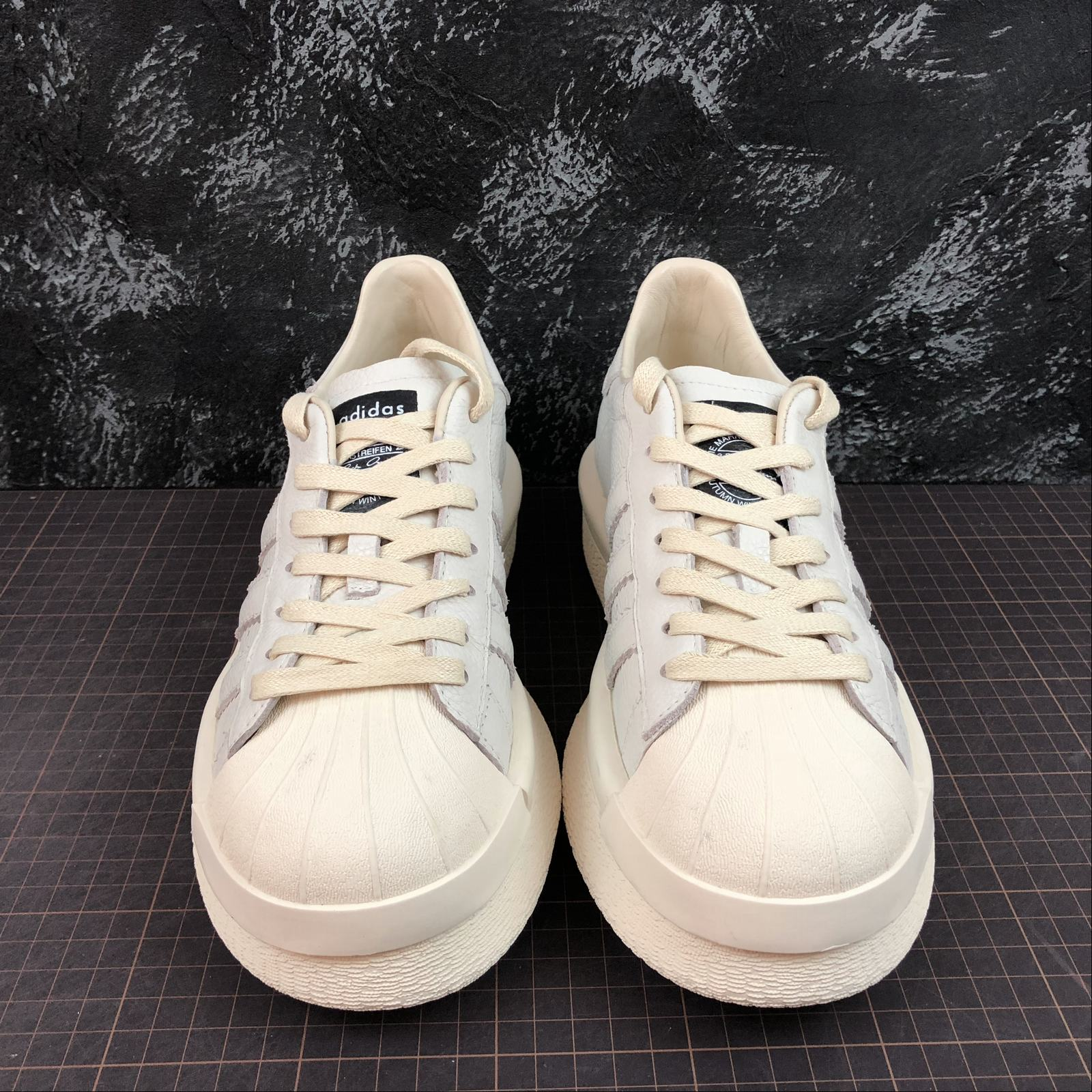Мужские кроссовки Rick Owens x Adidas Mastodon Pro Model Ro Pearl low-top Men White,White with line - фото №3